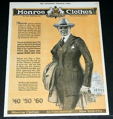 1920 Old Magazine Print Ad, Monroe Clothes, Double Suits, New York Styles, Art!
