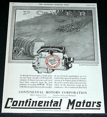 1920 Old Magazine Print Ad, Continental Motors, Parbuckle And Construction Art!