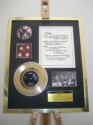 Beatles Yesterday Gold Disc Record Vinyl Original Hand Written Lyrics Display