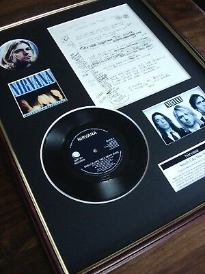 Kurt Cobain Smells Like Teen Spirit Nirvana Hand Written Framed Lyrics Montage