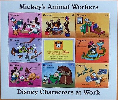 3 X Disney- Mickey's Animal Workers  Stamp Mint Sheet.