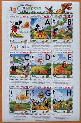 3 X Disney- Abc De Mickey- 9 Mint Stamp Sheet.