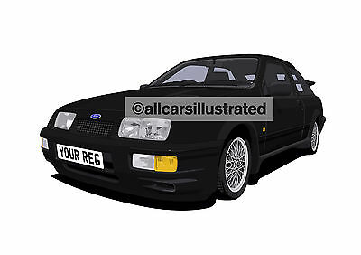 Ford Sierra Rs Cosworth Car Art Print (Size A3). Personalise It!
