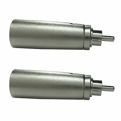 2PACK Metal XLR 3pin Male to RCA Male Adapter Connector