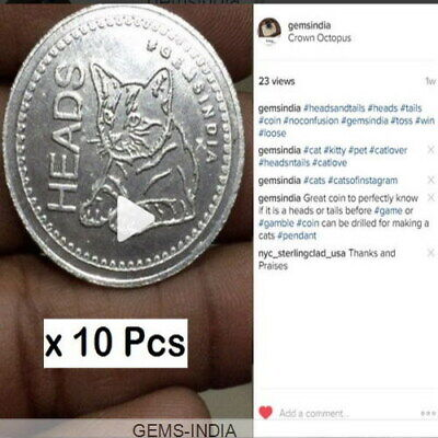 10 Pcs Heads And Tails Flip #coins  #gift For Your #friends #cat #gemsindia
