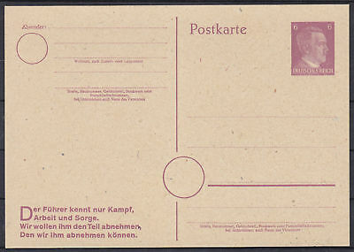 German Reich Ww2 Hitler Stationary Postcard 1944 Unused
