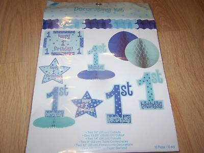 Baby Boys 1st Birthday Decorations Kit 10 Pieces Blue N