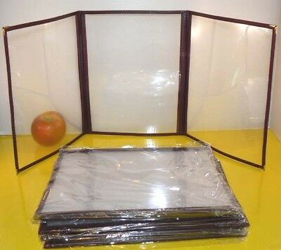 "30pcs Restaurant/Cafe Menu Covers, 8.5""x11"" Triple Page 6 Views, Burgundy 3RD"