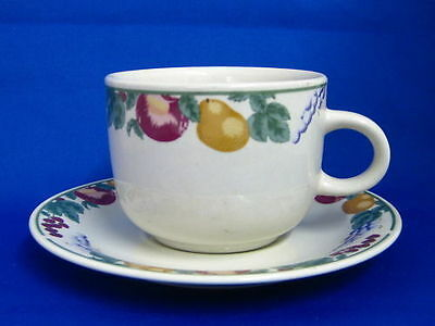 "CROWN DYNASTY "" FRUITS "" TEA CUPS & SAUCERS"
