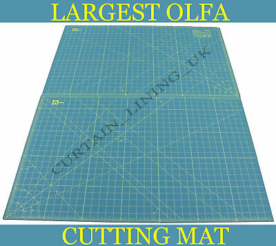 "OLFA Self Healing Cutting Mat 23"" x 70"" Green Professional Grid Lines RM-CLIPS/2"