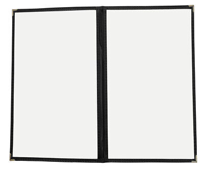 "50pcs Restaurant/Cafe Menu Covers, 8.5""x14"" Two Pages with 4 Views, Black 2LBK"