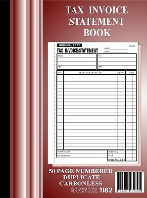 15 x 50 Page A4 Tax Invoice / Statement Books Carbonless