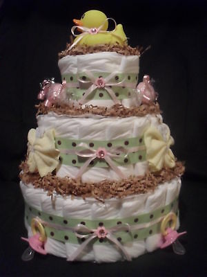 Green, Brown, Pink, & Yellow Diapercake with Duck