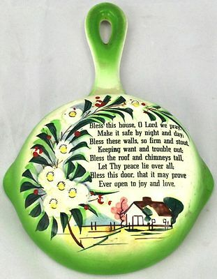 "HP Lefton Frying Pan Wall Pocket ""Bless This House"""