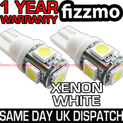 2 x 5 LED 5050 SMD 501 T10 W5W WEDGE HID 6000K XENON WHITE SIDE LIGHTS UK