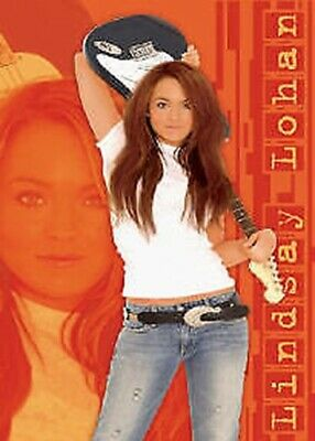LINDSAY LOHAN ~ JEANS ORANGE BACKGROUND ~ 22x34 PINUP POSTER Guitar NEW/ROLLED!