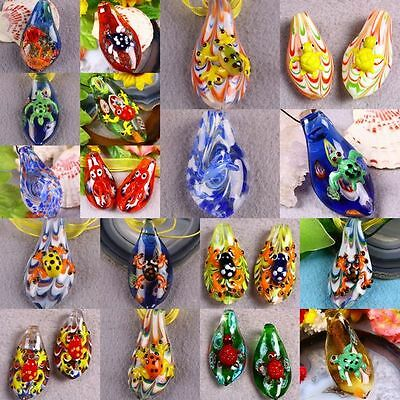 Teardrop Murano Lampwork Glass Charms Pendant Bead