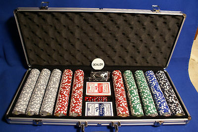 "600 Chip Set ""royal Flush"" 13.5 Gr 5 Dice 2-Dks Locking"