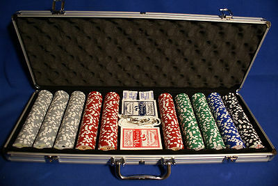 "500Chip Set ""royal Flush"" 13.5 Gr 5 Dice 2-Dks Locking"