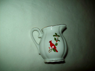 Cream Pitcher White, Red Cardinals Lefton 1984 New Mint