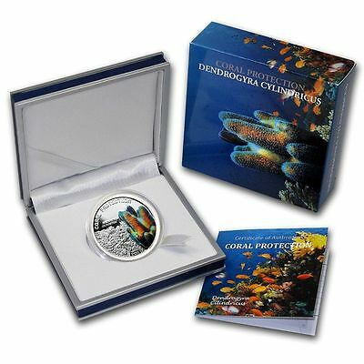 TUVALU 1$ 2011 DENDROGYRA CYLINDRICUS CORAL Protection Reef Silver Coin