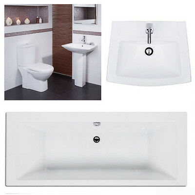 1700 x 700 Double Ended Bathroom Suite Acrylic Bath , Toilet WC Wash Sink Basin