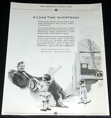 1924 Old Magazine Print Ad, Dodge Motor Cars, Long Time Investment, Prince Art!