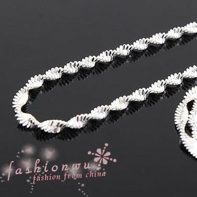 """48pc Fresh SilverPlated Copper Double Wave Necklace 17"""""""
