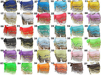 New Belly Dance Hip Skirt Scarf Wrap Belt Coins costume