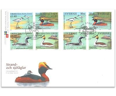 Water Birds 2003 First Day Cover Sweden & Hong Kong Joint Issue - 8 Stamps X 10