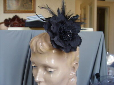 Spectacular Black Flower  & Feather Fascinator