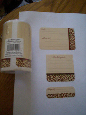 24 Animal Print Adhesive Labels Deliver To, Belongs To