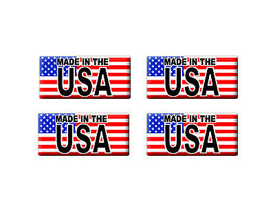Made in the USA with Flag - 3D Domed Set of 4 Stickers