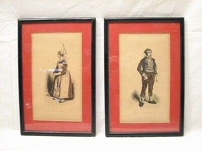 Antique Pair French Hand Colored Etchings Prints Framed