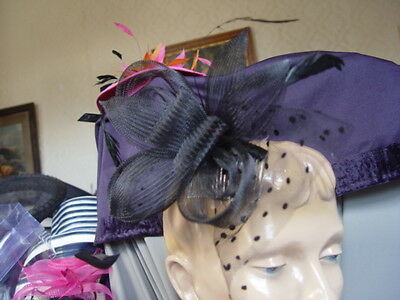 STYLISH BLACK MESH and  FEATHER FASCINATOR