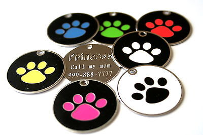 """Large Paw Stainless Steel Pet ID Tag Custom Engraved Dog Cat 1-3/8"""" Personalized"""