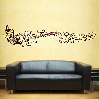 Butterfly & Music Notes Vinyl Sticker Wall Art Bedroom Decal 3