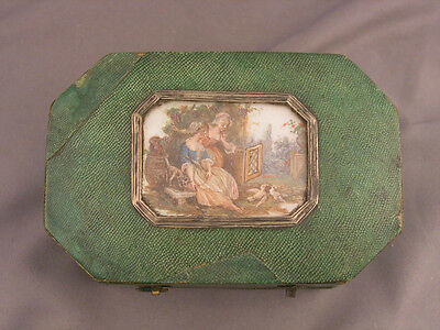 Antique French Shagreen Mother of Pearl Hand Painted Scenic Box 18th Century