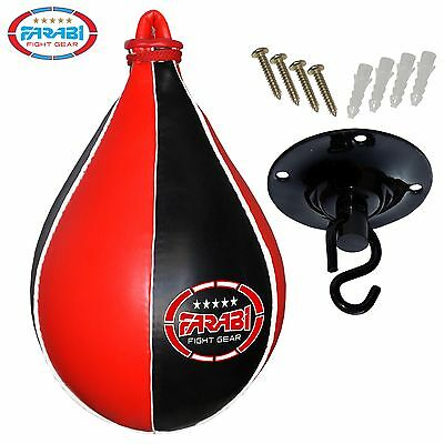 Farabi Speed Ball Pear Shape Punching Bag Swivel Black Red