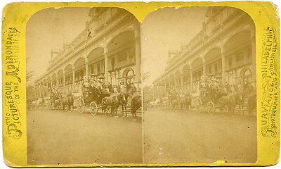NY Adirondacks Stages at Fort William Henry Hotel Lake George Stereoview