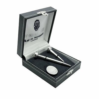 New Ari D Norman Sterling Silver Golf Ball Marker & Tee & Tee Pencil Gift Boxed