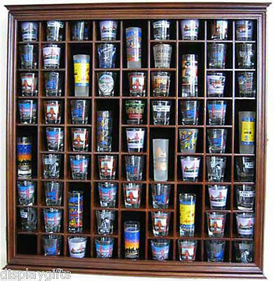 Large Wall Shadow Box Cabinet to hold 71 Shot Glasses, Real Glass Door, Hardwood