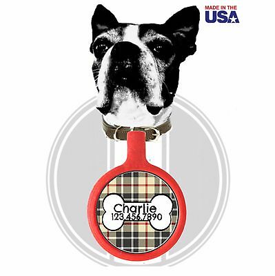 Plaid with Dog Bone Pet ID Tag-Choose Size and Colors