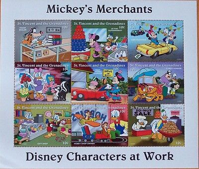 3 X Disney- Mickey's Merchants -9 Stamp Mint Sheet.