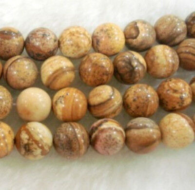 """8mm 15"""" round Chinese Picture stone gemstone loose beads"""