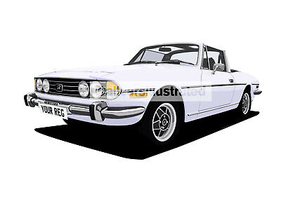 Triumph Stag Car Art Print (Size A3). Choose Your Colour, Add Your Reg Plate