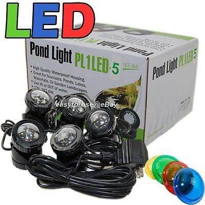 5-LED Super Bright Outdoor Underwater Pond Fountain Spot Light Kits 4-color Lens