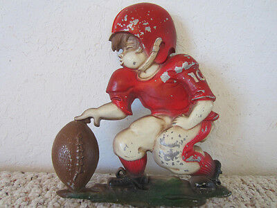 """VINTAGE FOOTBALL   Metal Football Player, Wall Decor Plaque by """"Sexton"""" 1970"""