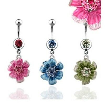 GEM PAVED FLOWER BELLY NAVEL RING CZ CHAIN DANGLE BUTTON PIERCING JEWELRY B411