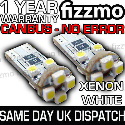 2x 8 SMD LED 501 T10 W5W WEDGE CANBUS NO ERROR FREE XENON WHITE HID SIDE LIGHTS